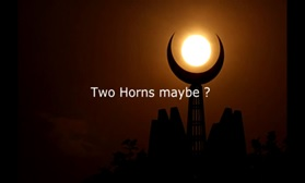 Cresent moon and star - two horns