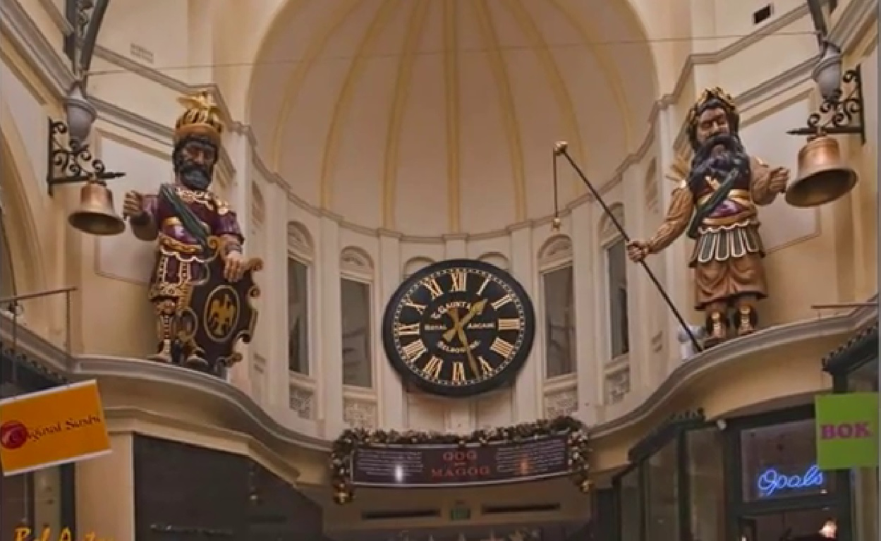 7 foot giant statues of Gog and Magog which stand in Royal Arcade Melbourne in Australia